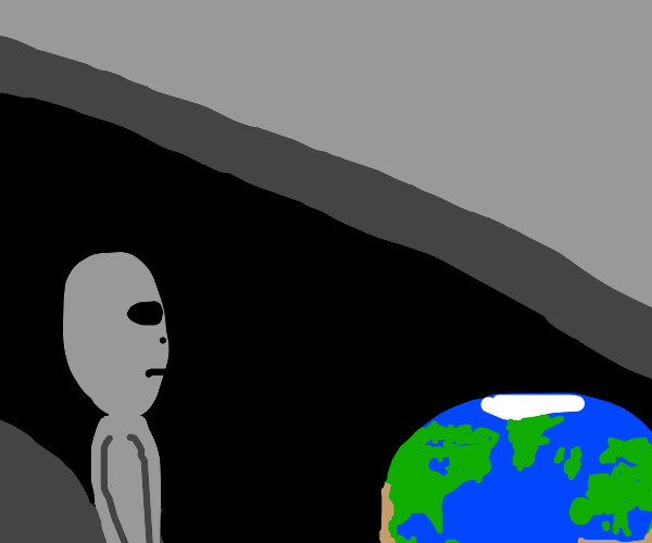 alien looking down apon earth