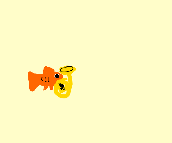 goldfish playing a horn