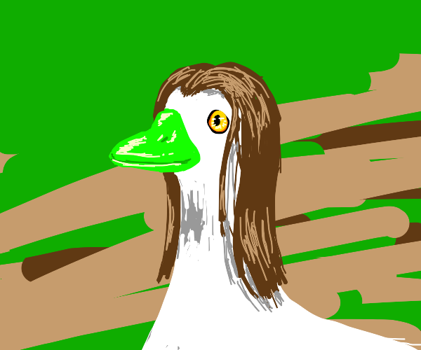 duck with wig and green beak?