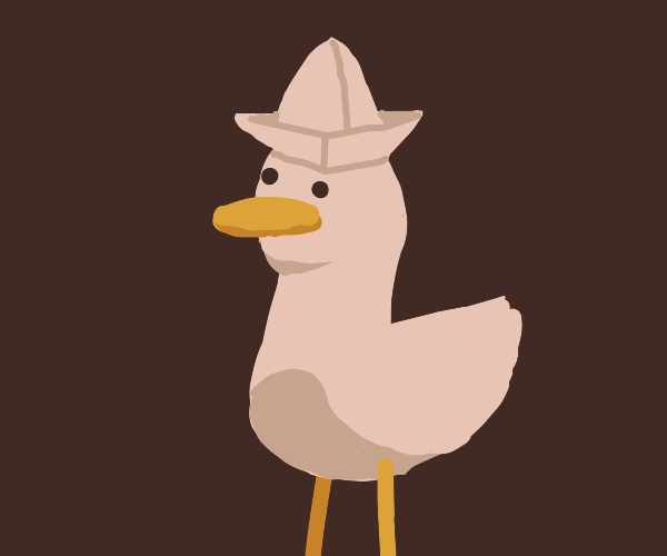 Ducky wearing a paper ship hat