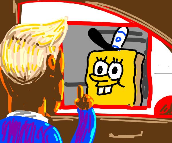 Trump visits krusty krab drive-thru