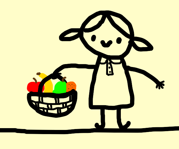 girl carrying basket of fruit
