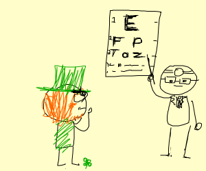 A leprechaun getting an eye exam
