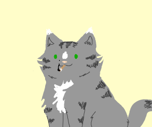 Cat with a cigarette