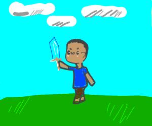 Steve with a diamond sword
