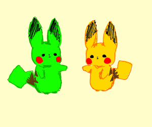 Pikachu standing right of green Pikachu.