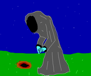 Hooded, BlueHanded Reaper conducts Ritual
