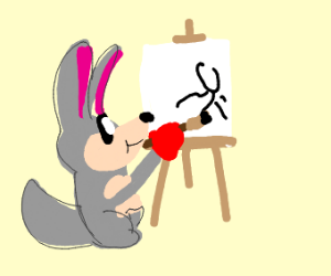 Adorable Kangaroo painting a picture