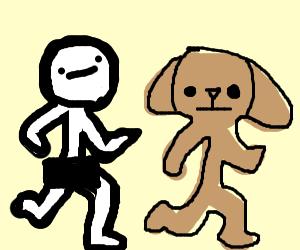 Naked guy chases dog guy