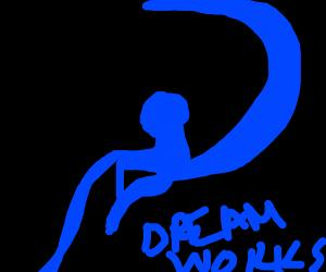 Dreamworks kid fishing on the moon