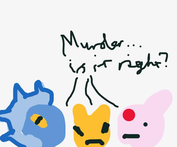 """Eeveelutions ask """"Murder... is it right?"""""""