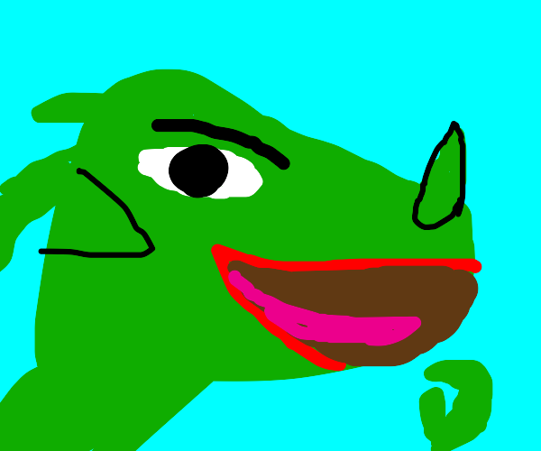 dragon with a meme sly face