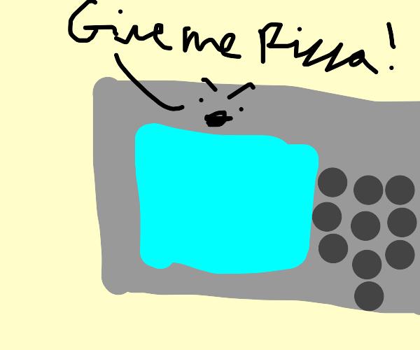 Microwave demands pizza