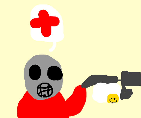 Pyro lend his gun for some medic aid