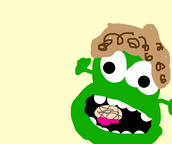 Curly haired ogre eats a brain