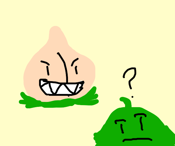 peach monster confuses a green creature?