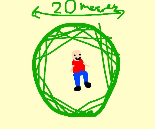 kid does a 20 meter radius emerald splash