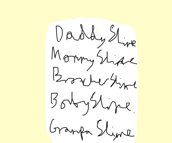 Slime Family monsters listing