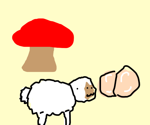 sheep tryin to eat but is crushed by mushroom