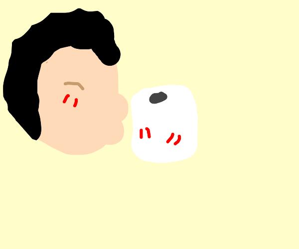 boy kisses toilet paper