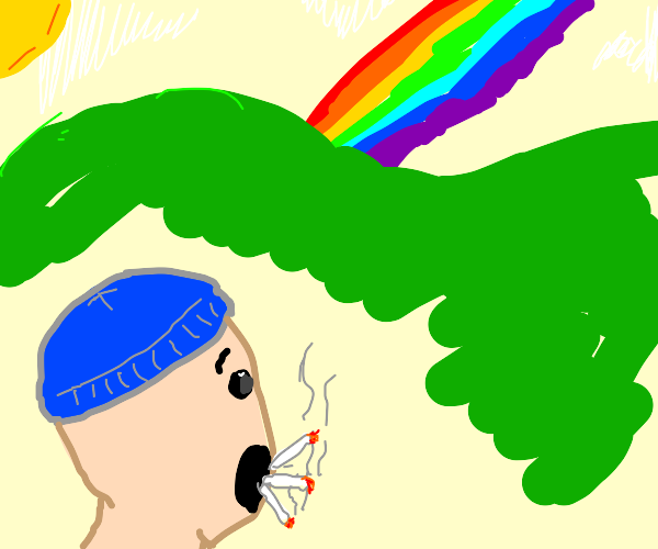 Cigarette addict gets amazed by a rainbow