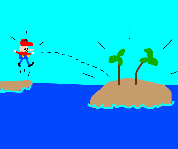 Mario finds a deserted island!
