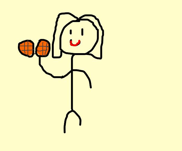 Girl with orange highlights