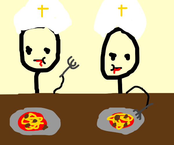 Two priests Eating spaghetti