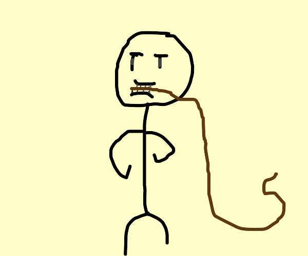 Person holds whip with face.