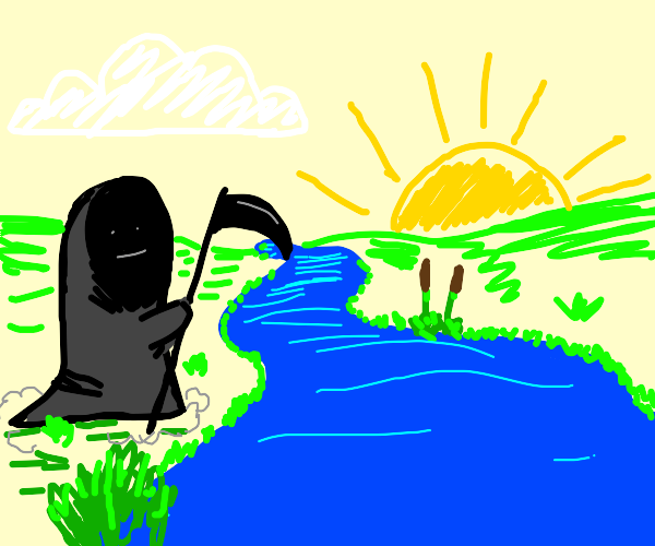 Grim Reaper Gazes at River