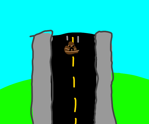 sad poop rooling down the highway