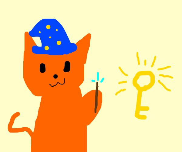 Wizard cat creating a key.