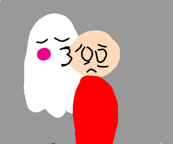 Ghost smooching scared guy