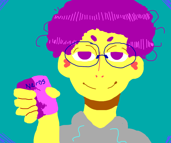 A guy with glasses offering you nerds