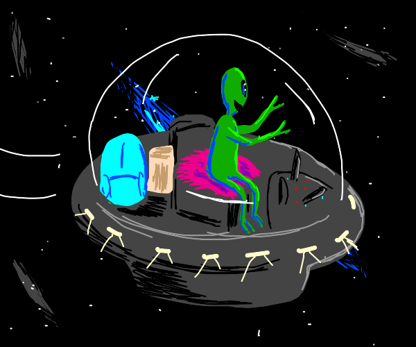alien goes on a trip in their ufo
