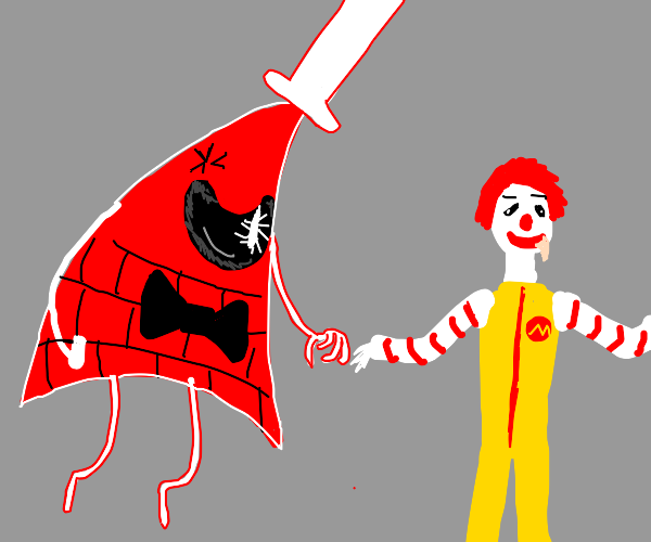 Bill Cipher annoyed by Ronald McDonald