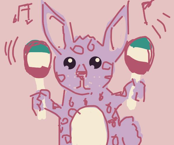 Dotted bunny plays maracas