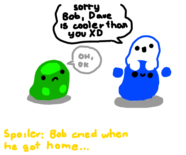 green blob getting left by white blob