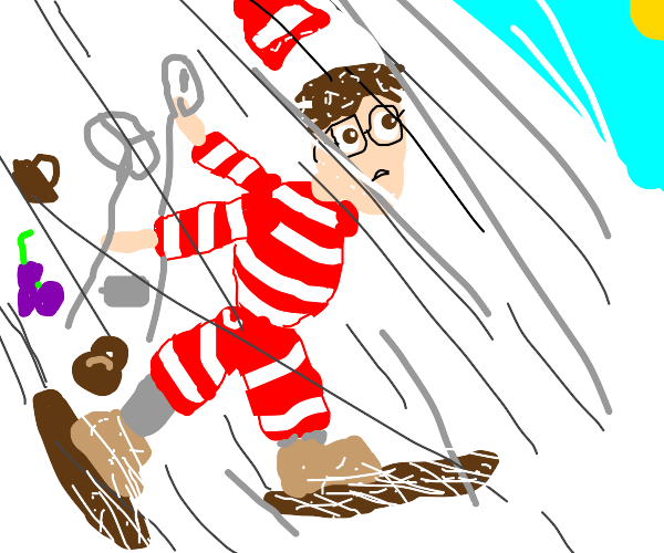 Waldo losing stuff at skiing