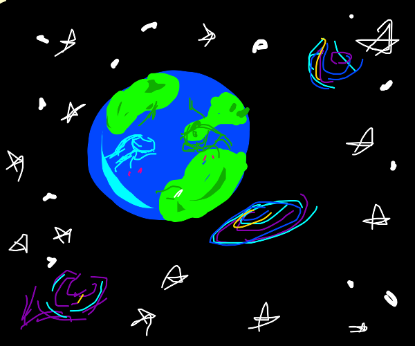 earth with girl face