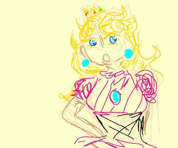 princess peach wearing a corset