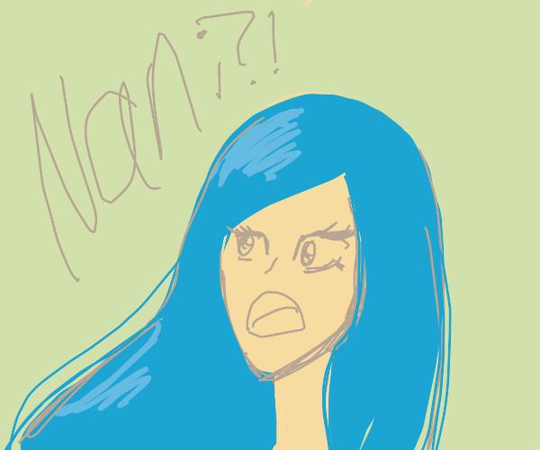 "Blue haired anime girl ""Nani?!"""