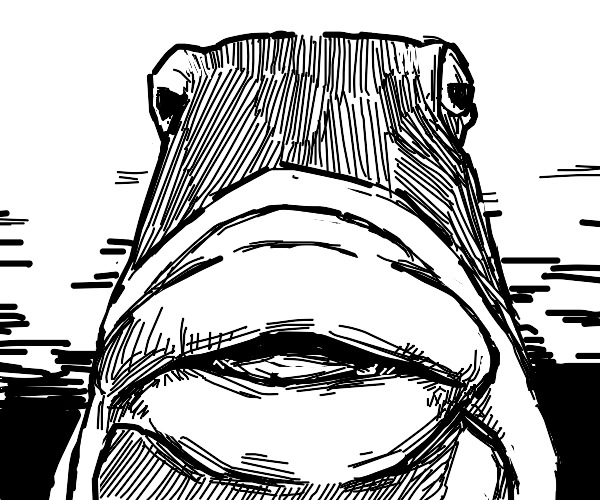 Some type of fish, frog, or Star Wars charact
