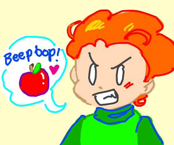 An apple next to Pico who speak in beeps