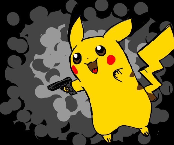 pikachu with a gun