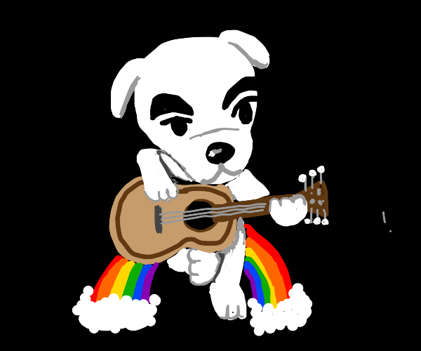 KK Slider playing guitar sitting on a rainbow