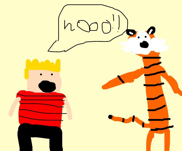 """Calvin Shouting """"NOOO"""" at Hobbes"""