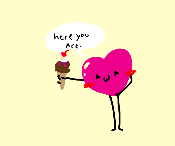 Cute heart offer you some delicious ice cream