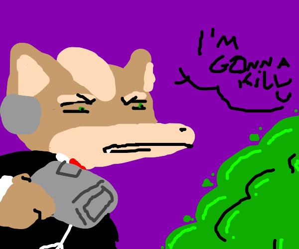 Fox McCloud in business suit threatens bush