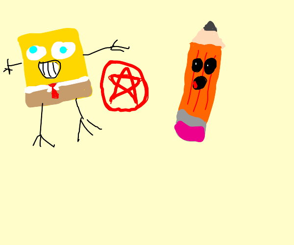 Sponge and pencil do unholy things together